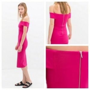 Zara Dresses - Zara Hot Pink Off The Shoulder Bodycon Midi Dress